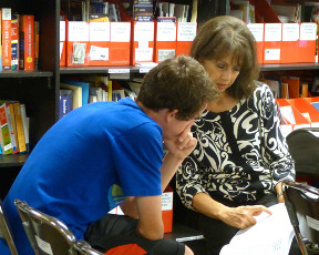 Carol Diebel with a student